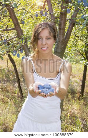 Happy Girl Offering Plums In The Orchard