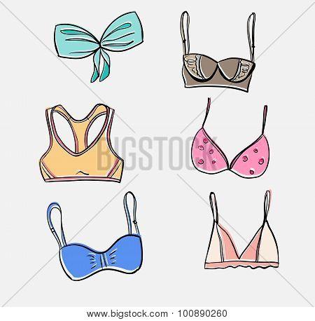 Vector hand drawn bra set