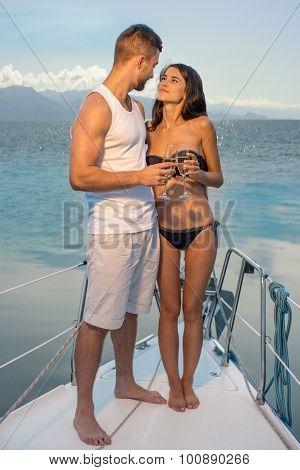 Romantic trip on the yacht.
