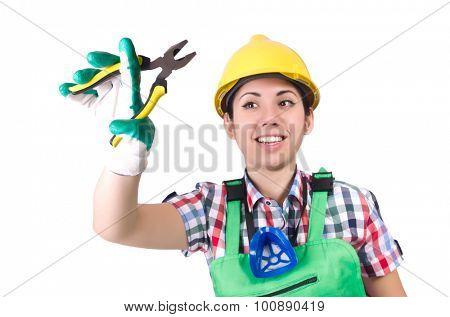 Female worker wearing helmet isolated on white