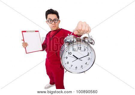 Funny sportsman with alarm clock isolated on white