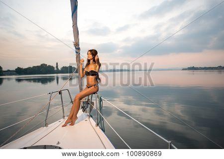 Evening walk on a yacht.