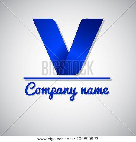 Icon of paper business logo letter v