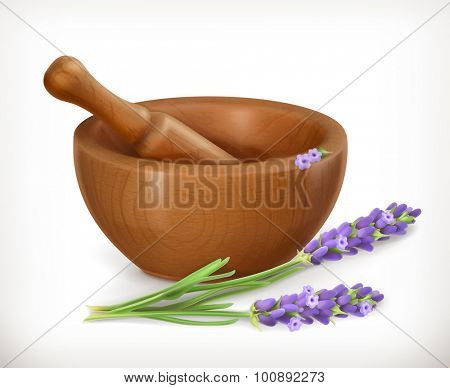 Lavender and wooden mortar, vector icon