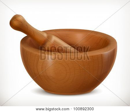 Wooden mortar, vector icon