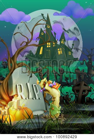 Happy Halloween, vector invitation