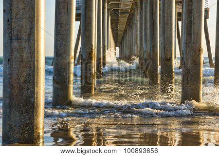 Water Reflections under Ocean Pier
