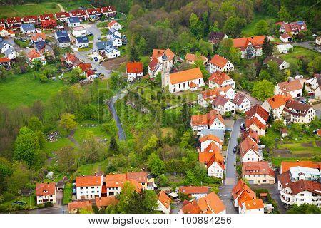 Top view of the village near Lichtenstein castle