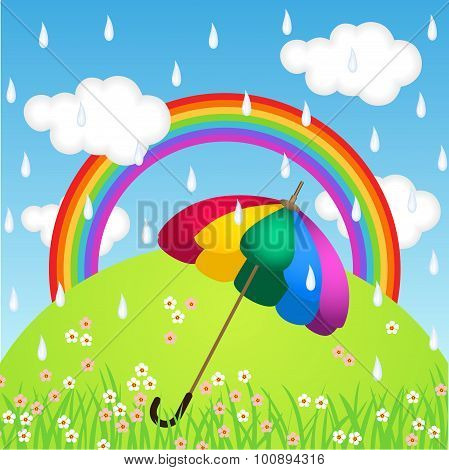 Rainbow Color Umbrella In Raining Sky