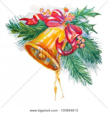 Hand drawn watercolor Christmas Bell Decoration