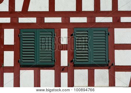 Swiss Timber Framed Wall With Windows.