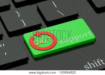 24/7 Concept On Green Keyboard Button