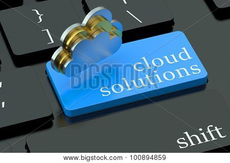 Cloud Solutions On Blue Keyboard Button
