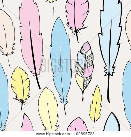 Seamless  pastel bohemian feathers illustration