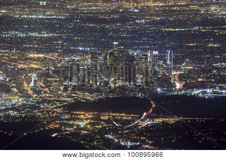 Night Los Angeles Downtown Scene
