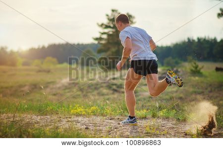 Young Man Running Outdoors