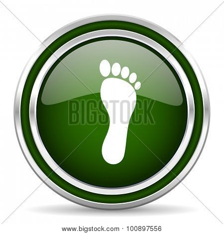 foot green glossy web icon modern design with double metallic silver border on white background with shadow for web and mobile app round internet original button for business usage