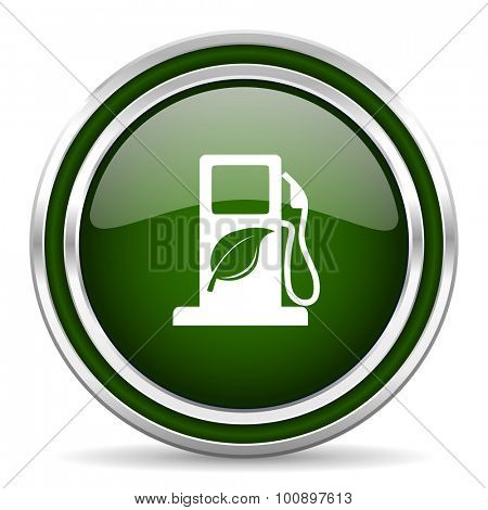 biofuel green glossy web icon modern design with double metallic silver border on white background with shadow for web and mobile app round internet original button for business usage
