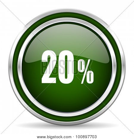 20 percent green glossy web icon modern design with double metallic silver border on white background with shadow for web and mobile app round internet original button for business usage