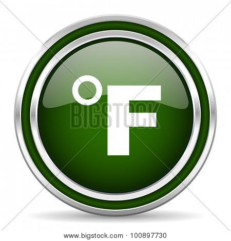 fahrenheit green glossy web icon modern design with double metallic silver border on white background with shadow for web and mobile app round internet original button for business usage