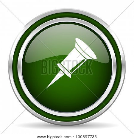 pin green glossy web icon modern design with double metallic silver border on white background with shadow for web and mobile app round internet original button for business usage