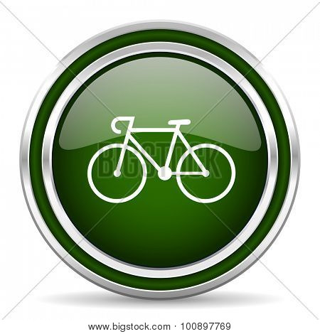 bicycle green glossy web icon modern design with double metallic silver border on white background with shadow for web and mobile app round internet original button for business usage
