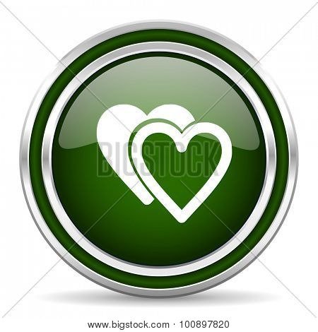 love green glossy web icon modern design with double metallic silver border on white background with shadow for web and mobile app round internet original button for business usage