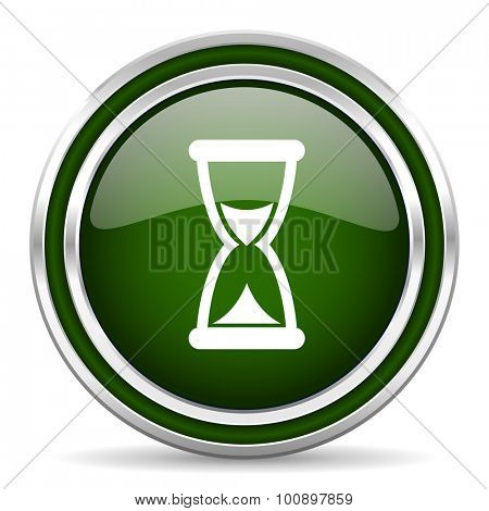 time green glossy web icon modern design with double metallic silver border on white background with shadow for web and mobile app round internet original button for business usage