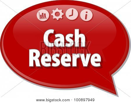 Speech bubble dialog illustration of business term saying Cash Reserve