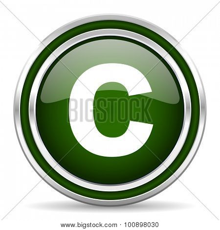 copyright green glossy web icon modern design with double metallic silver border on white background with shadow for web and mobile app round internet original button for business usage