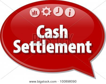 Speech bubble dialog illustration of business term saying Cash Settlement