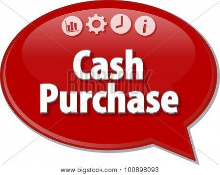 Speech bubble dialog illustration of business term saying Cash Purchase