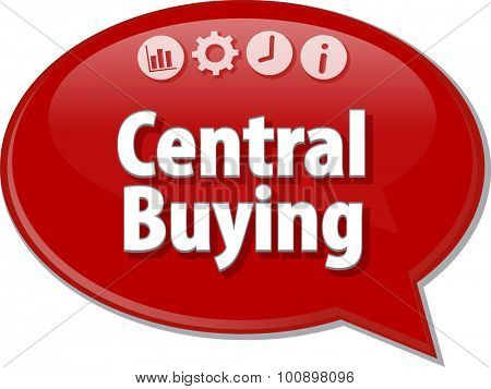 Speech bubble dialog illustration of business term saying Central Buying