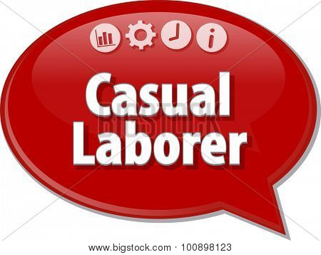 Speech bubble dialog illustration of business term saying Casual Laborer