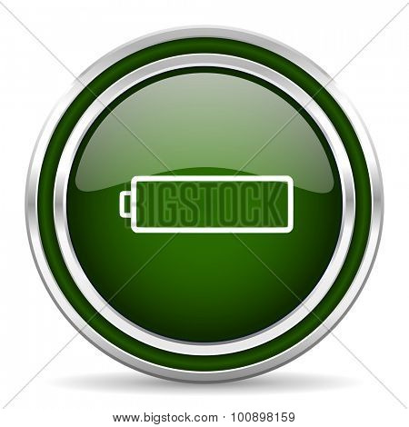 battery green glossy web icon modern design with double metallic silver border on white background with shadow for web and mobile app round internet original button for business usage