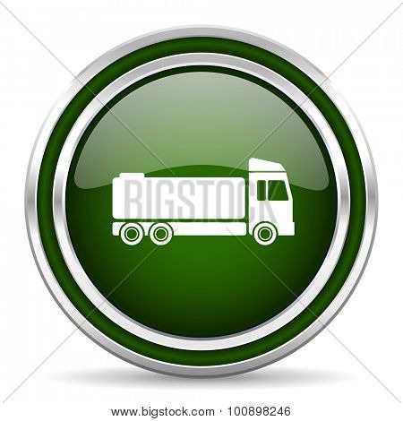 truck green glossy web icon modern design with double metallic silver border on white background with shadow for web and mobile app round internet original button for business usage