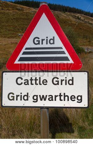 Welsh Road Warning Sign, Cattle Grid.