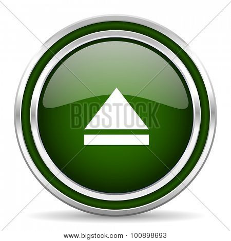 eject green glossy web icon modern design with double metallic silver border on white background with shadow for web and mobile app round internet original button for business usage