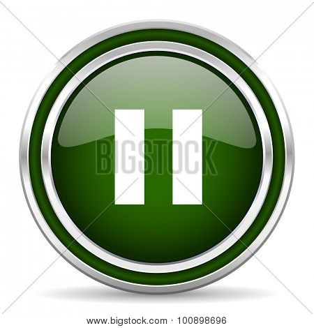 pause green glossy web icon modern design with double metallic silver border on white background with shadow for web and mobile app round internet original button for business usage