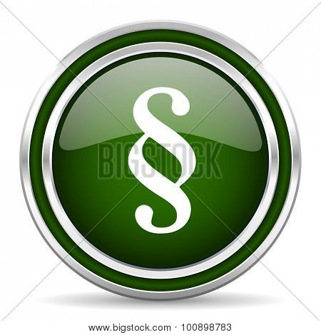 paragraph green glossy web icon modern design with double metallic silver border on white background with shadow for web and mobile app round internet original button for business usage