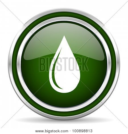 water drop green glossy web icon modern design with double metallic silver border on white background with shadow for web and mobile app round internet original button for business usage