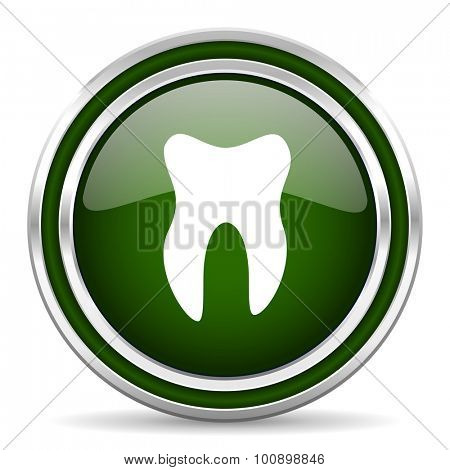 tooth green glossy web icon modern design with double metallic silver border on white background with shadow for web and mobile app round internet original button for business usage