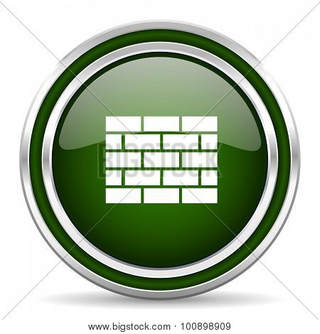 firewall green glossy web icon modern design with double metallic silver border on white background with shadow for web and mobile app round internet original button for business usage