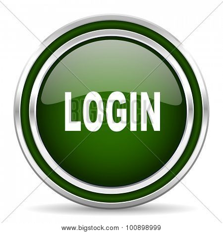 login green glossy web icon modern design with double metallic silver border on white background with shadow for web and mobile app round internet original button for business usage