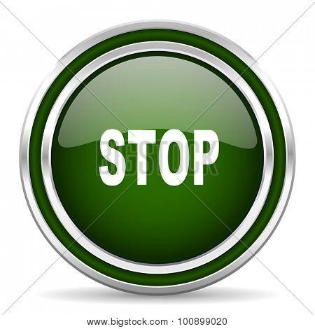 stop green glossy web icon modern design with double metallic silver border on white background with shadow for web and mobile app round internet original button for business usage