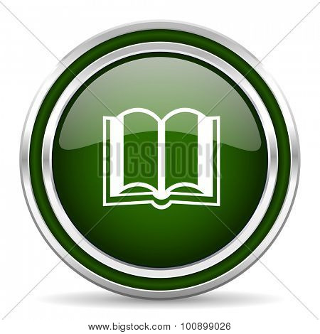 book green glossy web icon modern design with double metallic silver border on white background with shadow for web and mobile app round internet original button for business usage