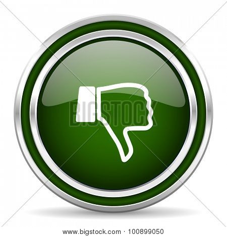 dislike green glossy web icon modern design with double metallic silver border on white background with shadow for web and mobile app round internet original button for business usage
