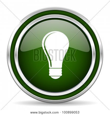 bulb green glossy web icon modern design with double metallic silver border on white background with shadow for web and mobile app round internet original button for business usage