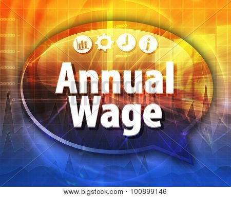 Speech bubble dialog illustration of business term saying Annual Wage