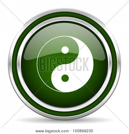 ying yang green glossy web icon modern design with double metallic silver border on white background with shadow for web and mobile app round internet original button for business usage